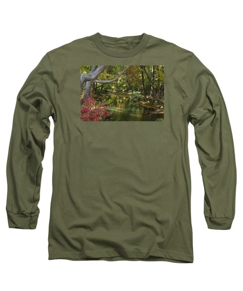View Of The Mill River Long Sleeve T-Shirt by Margie Avellino