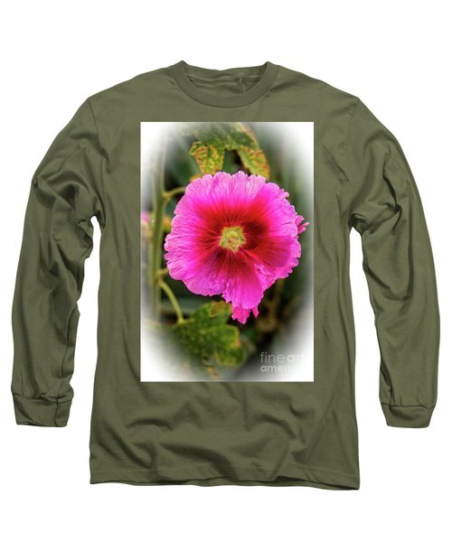 Vigenetted Hollyhock Long Sleeve T-Shirt