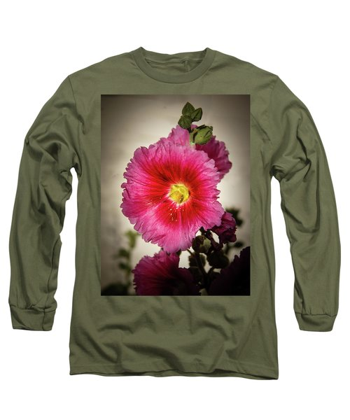 Vignetted Hollyhock Long Sleeve T-Shirt