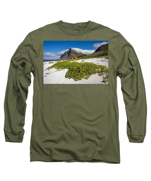 Vikten Beach With Green Grass, Mountains And Clouds Long Sleeve T-Shirt