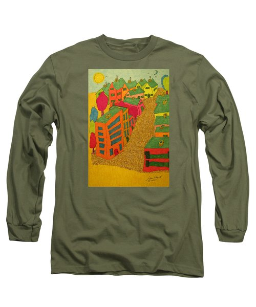 Village With Blue Sliver Moon Long Sleeve T-Shirt