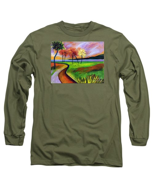 Long Sleeve T-Shirt featuring the painting Vinoy Park In Purple by Elizabeth Fontaine-Barr