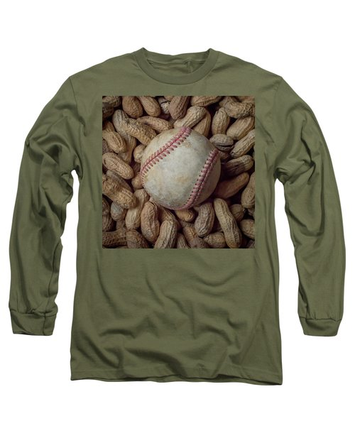 Long Sleeve T-Shirt featuring the photograph Vintage Baseball And Peanuts Square by Terry DeLuco
