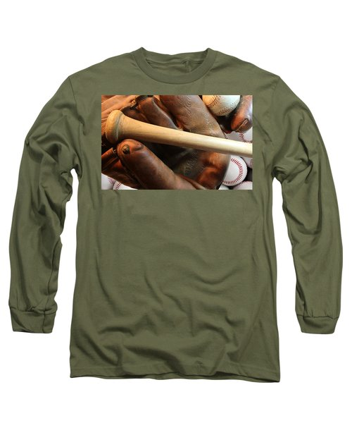 Vintage Baseball Long Sleeve T-Shirt by Pat Cook