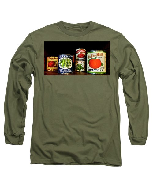 Vintage Canned Vegetables Long Sleeve T-Shirt by Joan Reese