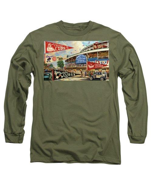Vintage Chicago Cubs Long Sleeve T-Shirt by Steven Parker