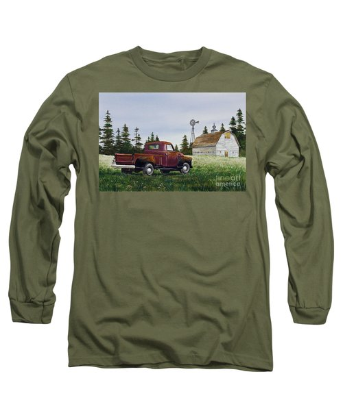 Long Sleeve T-Shirt featuring the painting Vintage Country Pickup by James Williamson