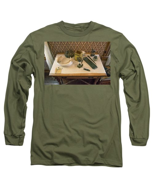Long Sleeve T-Shirt featuring the photograph Vintage Gentlemen's Preparation Table by Gary Slawsky