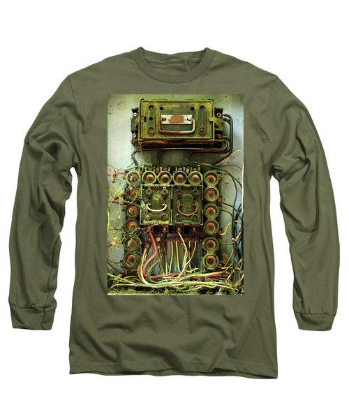 Vintage Household Fuse Box Long Sleeve T-Shirt by Michael Eingle