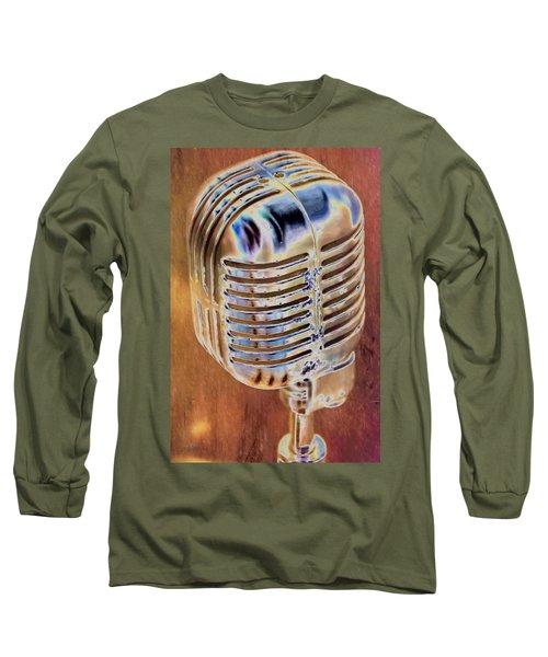 Vintage Microphone Long Sleeve T-Shirt by Pamela Williams