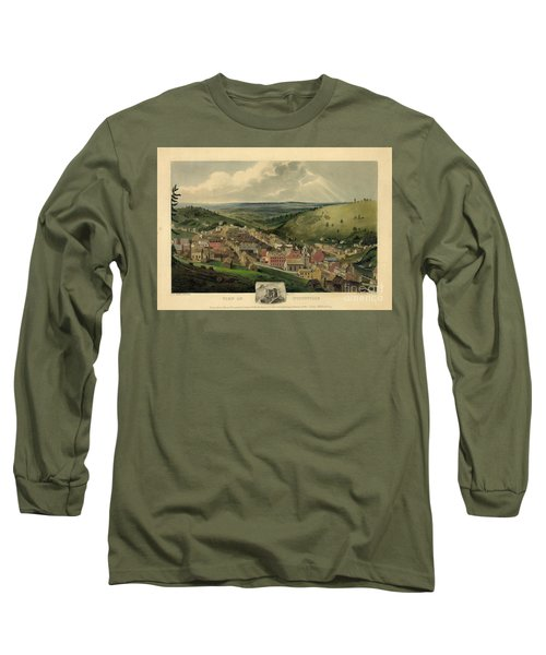 Long Sleeve T-Shirt featuring the photograph Vintage Pottsville Pennsylvania Etching With Remarque by John Stephens