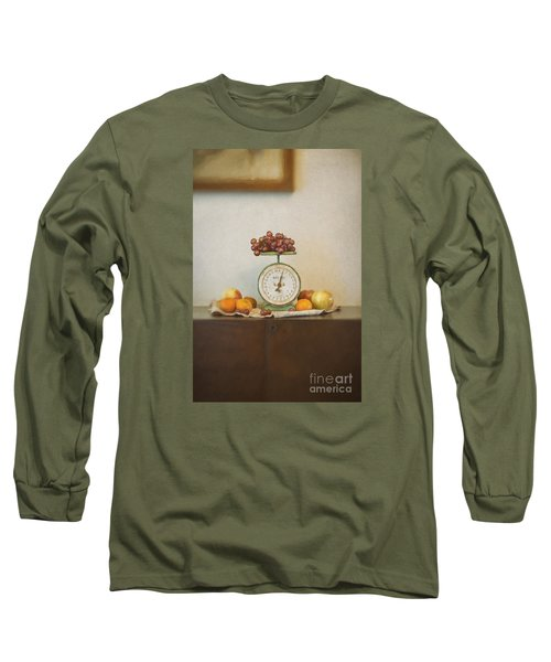 Vintage Scale And Fruits Painting Long Sleeve T-Shirt