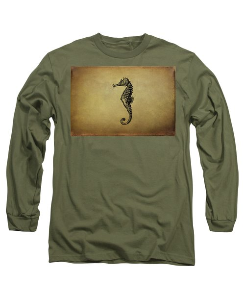 Vintage Seahorse Illustration Long Sleeve T-Shirt by Peggy Collins