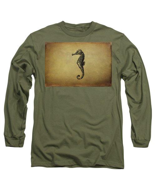 Vintage Seahorse Illustration Long Sleeve T-Shirt