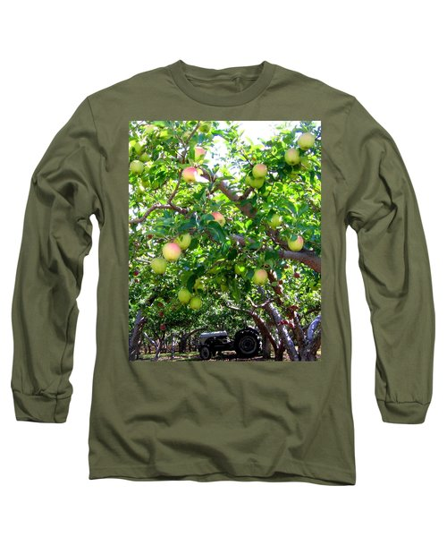 Vintage Tractor In Apple Orchard Long Sleeve T-Shirt