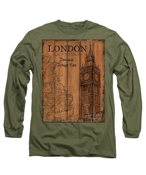 Long Sleeve T-Shirt featuring the painting Vintage Travel London by Debbie DeWitt