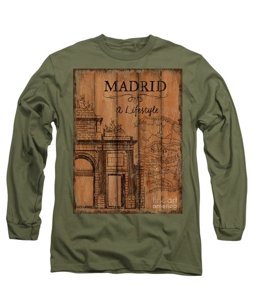 Long Sleeve T-Shirt featuring the painting Vintage Travel Madrid by Debbie DeWitt