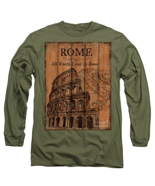 Long Sleeve T-Shirt featuring the painting Vintage Travel Rome by Debbie DeWitt