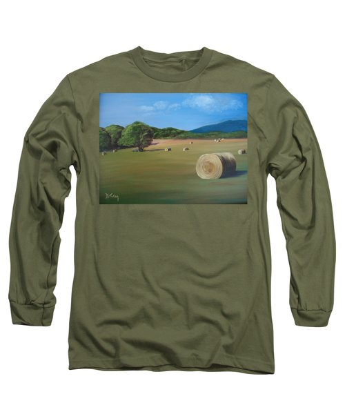 Long Sleeve T-Shirt featuring the painting Virginia Hay Bales by Donna Tuten