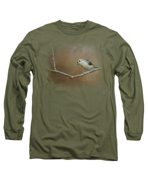 Visiting Tufted Titmouse Long Sleeve T-Shirt by Jai Johnson