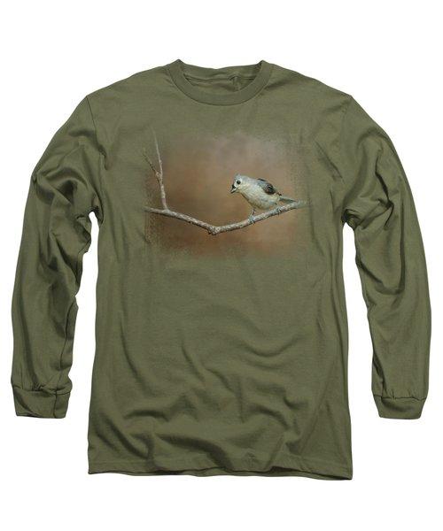 Visiting Tufted Titmouse Long Sleeve T-Shirt by Jai Johnson