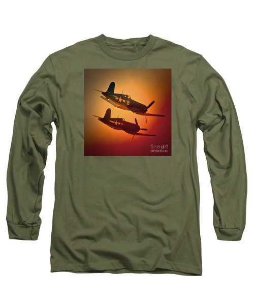 Vought F4u Corsair Sunset Two Ship Long Sleeve T-Shirt