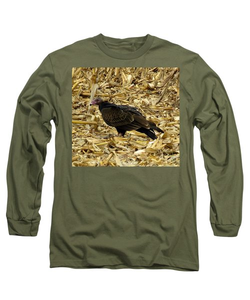 Vulture In The Corn Field  Long Sleeve T-Shirt by Keith Stokes