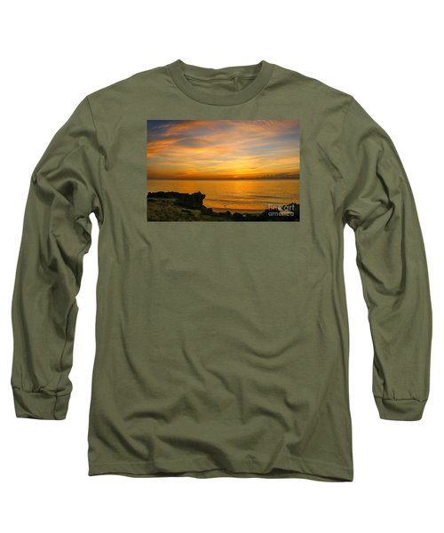 Wading In Golden Waters Long Sleeve T-Shirt by Tom Claud