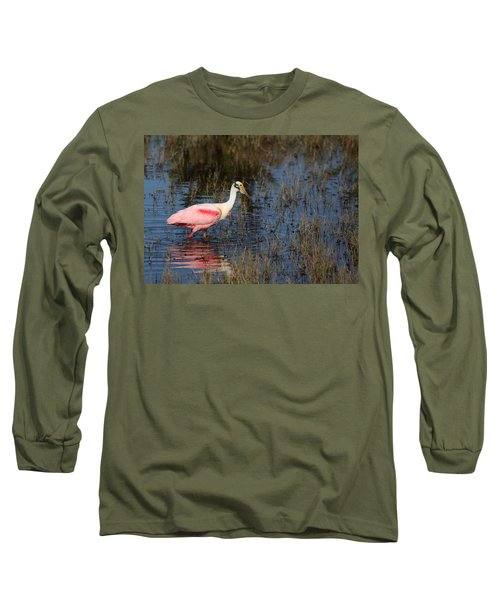 Wading Roseate Spoonbill Long Sleeve T-Shirt