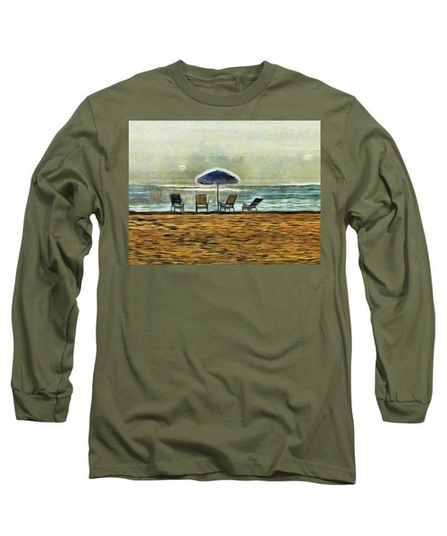 Long Sleeve T-Shirt featuring the mixed media Waiting On High Tide by Trish Tritz