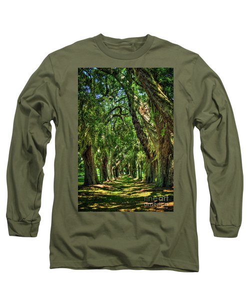 Long Sleeve T-Shirt featuring the photograph Walk With Me Avenue Of Oaks St Simons Island Art by Reid Callaway