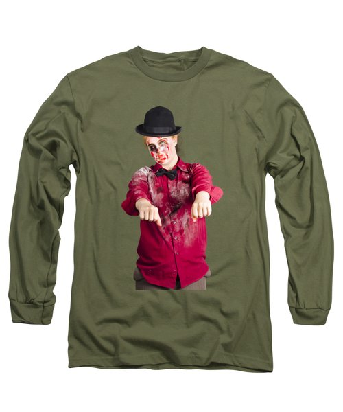 Long Sleeve T-Shirt featuring the photograph Walking Dead Zombie Woman by Jorgo Photography - Wall Art Gallery
