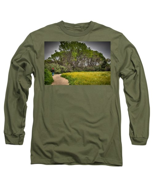 Walking Path In Tall Oak Trees In Spring Long Sleeve T-Shirt