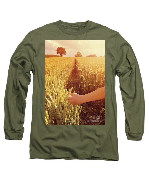 Long Sleeve T-Shirt featuring the photograph Walking Through Wheat Field by Lyn Randle