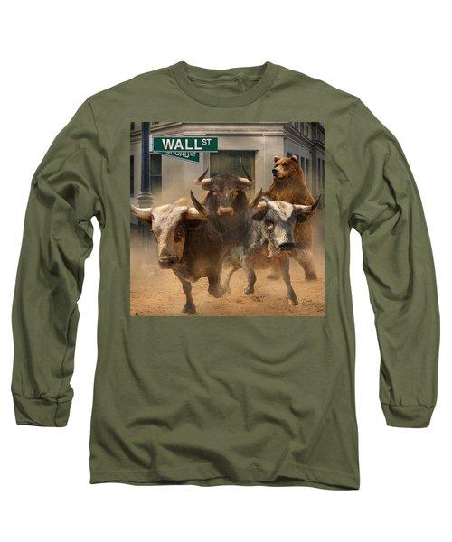 Wall Street -- Bull And Bear Markets Long Sleeve T-Shirt by Doug Kreuger