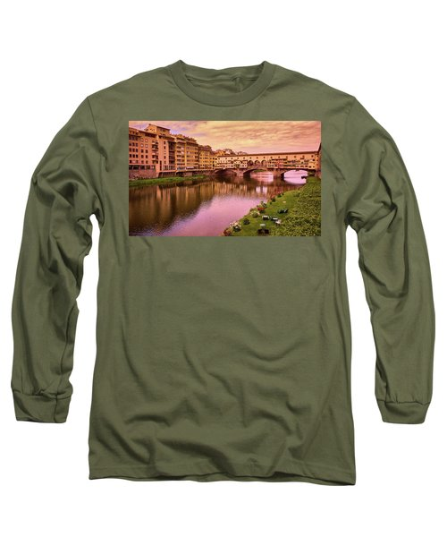 Sunset At Ponte Vecchio In Florence, Italy Long Sleeve T-Shirt