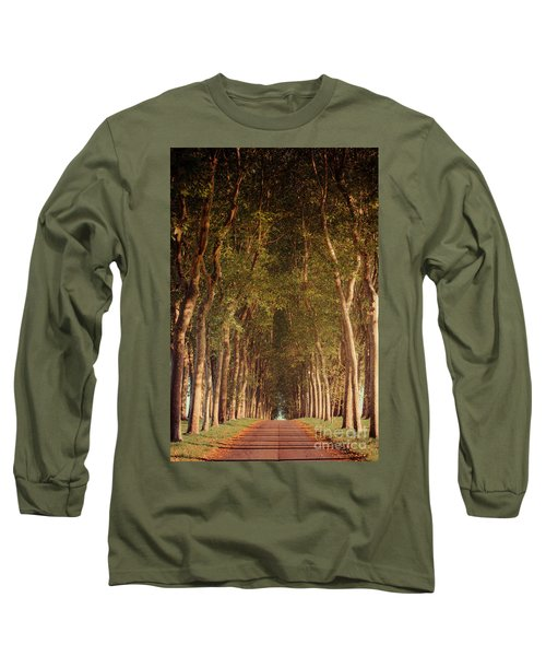 Warm French Tree Lined Country Lane Long Sleeve T-Shirt