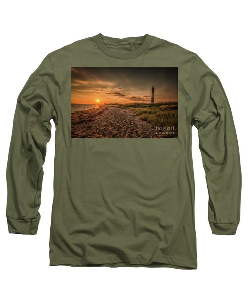 Warm Sunrise At The Fire Island Lighthouse Long Sleeve T-Shirt