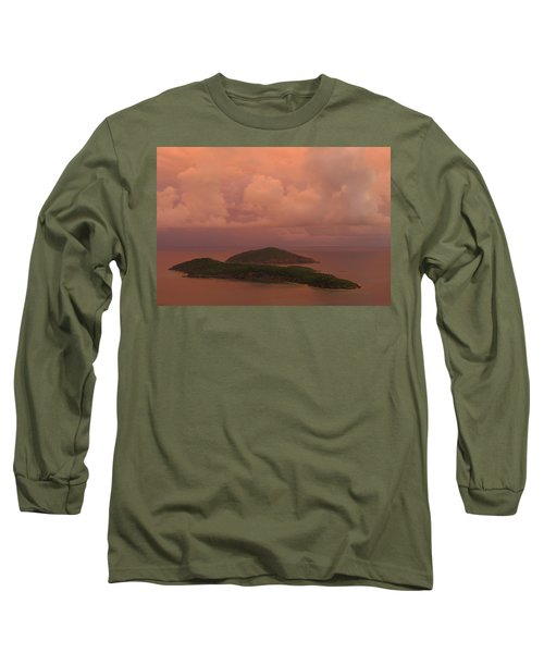 Long Sleeve T-Shirt featuring the photograph Warm Sunset Palette Of Inner And Outer Brass Islands From St. Thomas by Jetson Nguyen