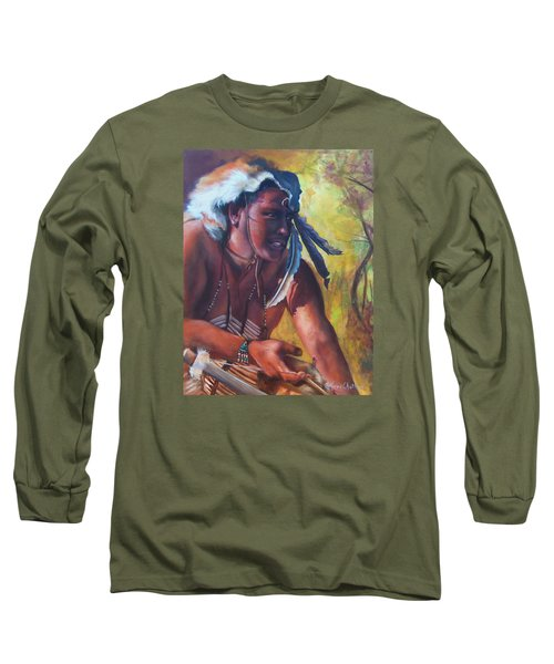 Long Sleeve T-Shirt featuring the painting Warrior Of The Gate by Karen Kennedy Chatham