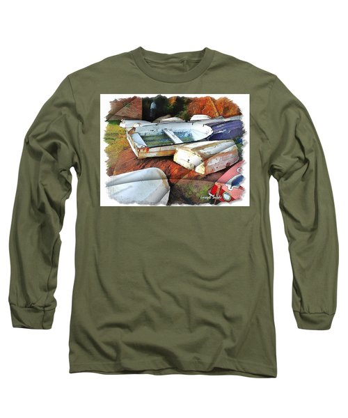 Long Sleeve T-Shirt featuring the photograph Wat-0012 Tender Boats by Digital Oil