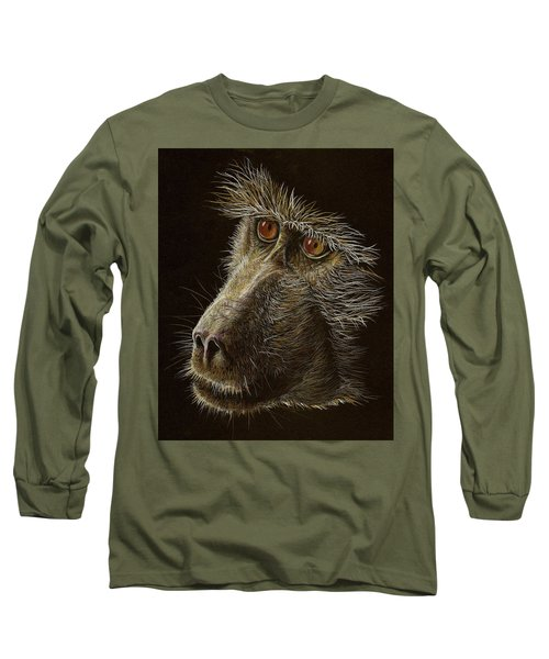 Long Sleeve T-Shirt featuring the drawing Watching You by Heidi Kriel