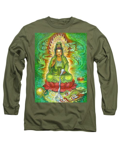 Long Sleeve T-Shirt featuring the painting Water Dragon Kuan Yin by Sue Halstenberg