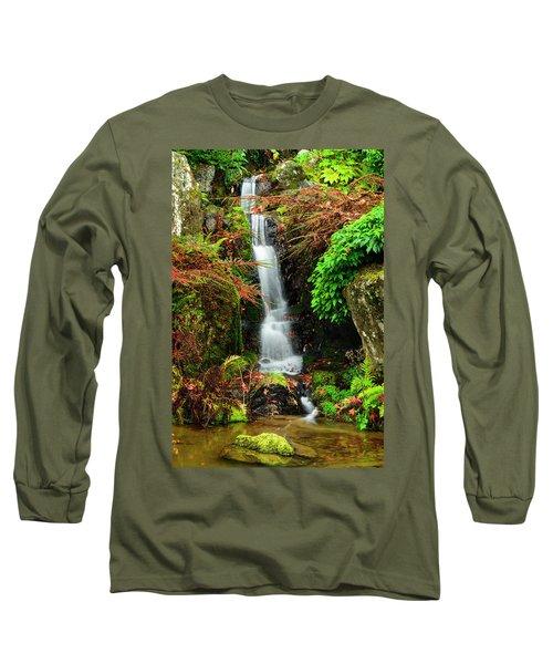 Waterfall At Kubota Garden Long Sleeve T-Shirt