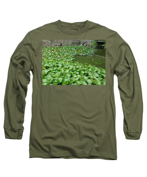 Water Lilies In The Moat Long Sleeve T-Shirt by Susan Lafleur