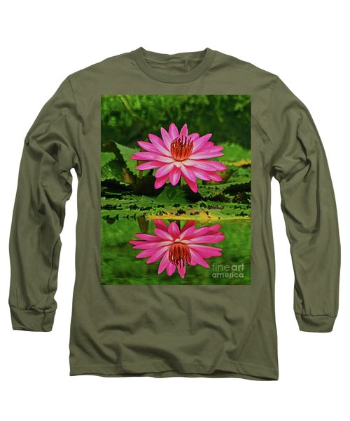 Hot Pink Water Lily Reflection Long Sleeve T-Shirt by Larry Nieland