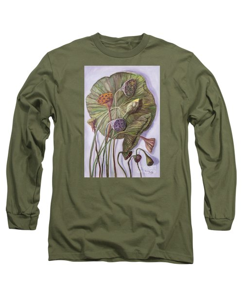 Water Lily Seed Pods Framed By A Leaf Long Sleeve T-Shirt by Randy Burns