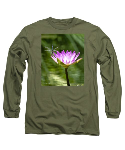 Long Sleeve T-Shirt featuring the photograph Water Lily With Dragon Fly by Bill Barber