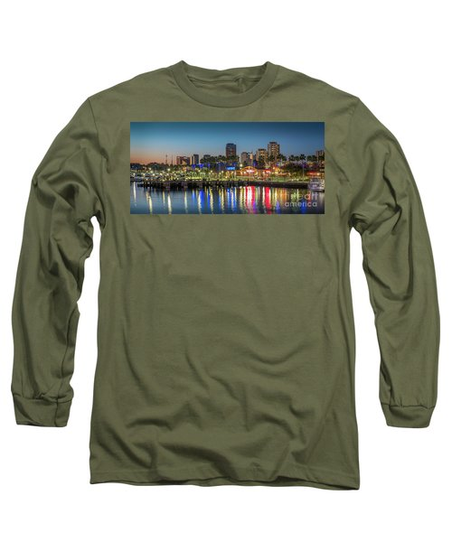 Water Reflecting Lights Sunset Long Beach Ca Long Sleeve T-Shirt