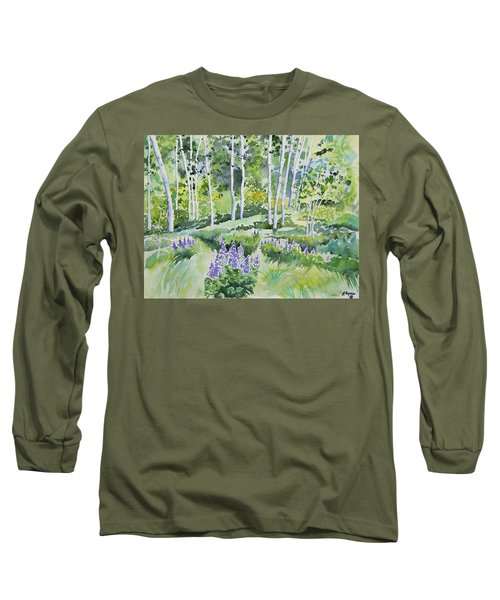 Watercolor - Early Summer Aspen And Lupine Long Sleeve T-Shirt